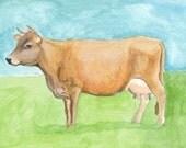 Reserviert für Beverly: Silver Cloud III, 1899 Jersey Kuh Original 4 x 6 Zoll-Aquarell auf Aquarellpapier, schwere