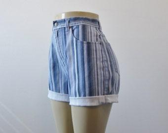 Striped High Waisted Denim Shorts Cut Off Jean Shorts Bill Blass Jean Cutoffs Womens High Waist 30