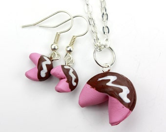 Chocolate Covered Pink Fortune Cookies Jewelry Set