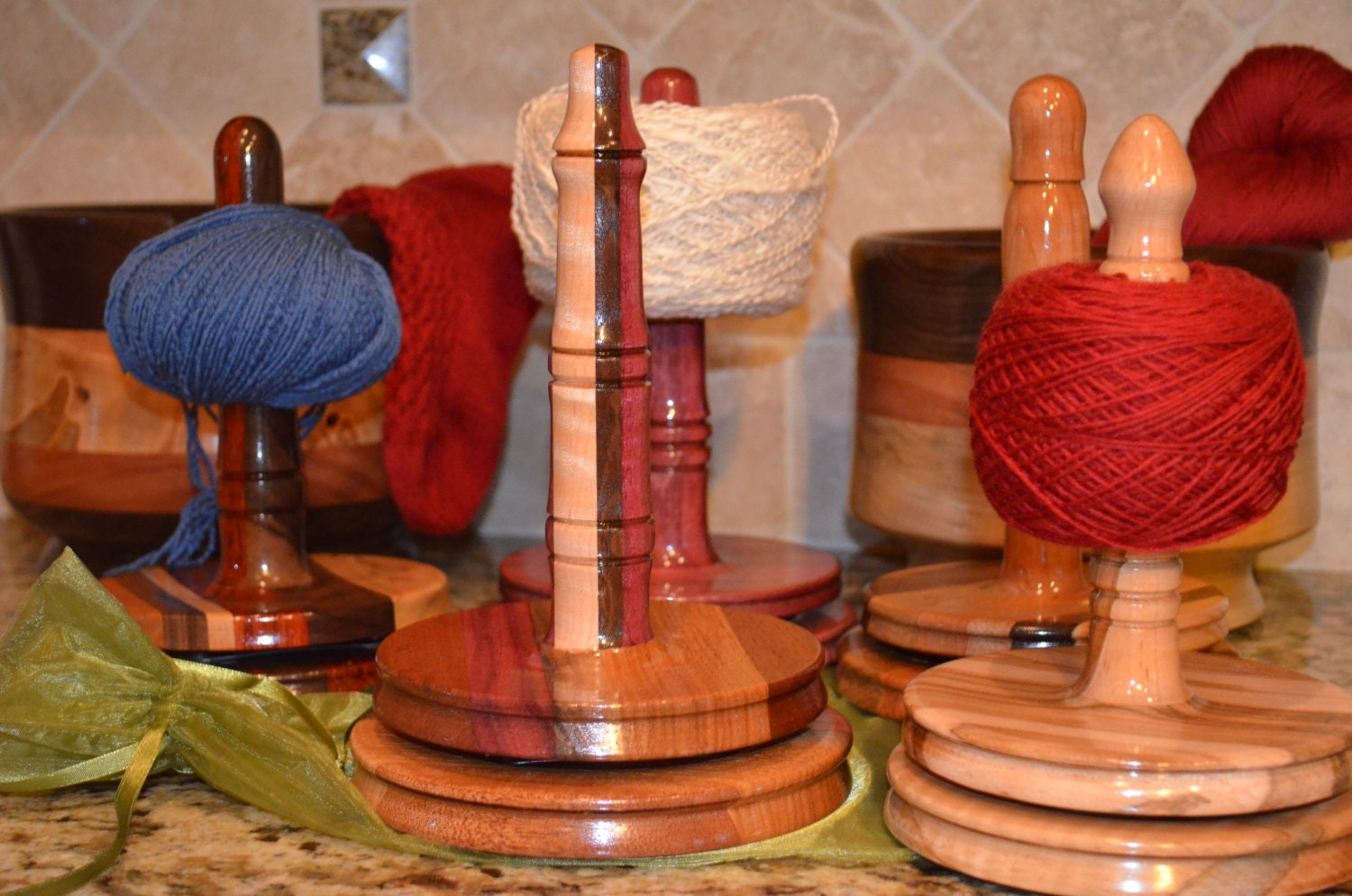 Yarn Swirlette Yarn Holder Wood Yarn Holder