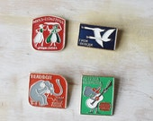Vintage Soviet badges/ Set of 4/Kids story/ an Elefante/ Accessory/ Metal pin/ Fairy tale/ rusteam red