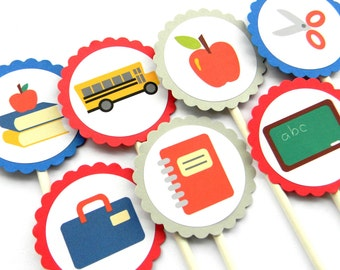 12 Back to School Cupcake Toppers