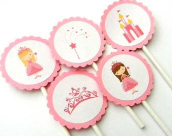 12 Pink Princess Cupcake Toppers