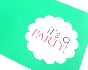 12 It's a Party Stickers, Birthday Stickers, Scalloped Stickers, Party Labels, Packaging Stickers, Personalized Stickers, First Birthday
