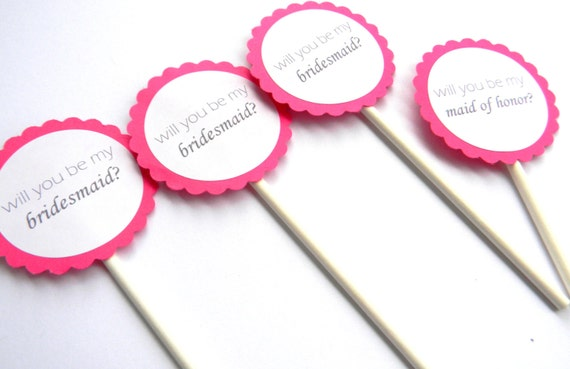 6 Wedding Party Cupcake Toppers Asking Bridesmaid