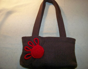 Monica - Repurposed, Upcycled Felted Wool Sweater Bag - An Original Eula Birdie Bag