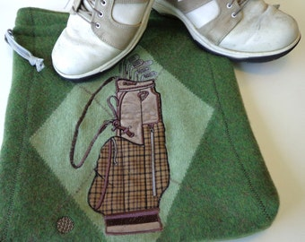 Golf Shoe Bag, Golf Shoe Travel Pouch, Upcycled Shoe Bag refashioned from a felted green wool sweater