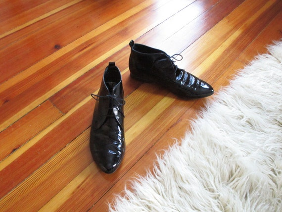 Black Patent Leather Ankle Boots size 9