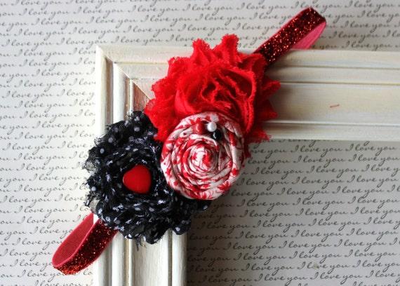 Valentine Inspired Black and Red : photography prop,newborn headband,baby girl headband, toddler headband, girls, teen and adult headband