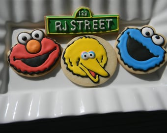 Big BIrd, Elmo, Cookie Monster Cookies
