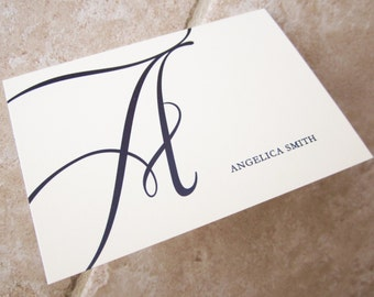 50 Wedding Thank You Monogram Initial Script Personalized Stationery Note Card