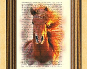 RUNNING FREE HORSE - Dictionary art print -Vintage art book page print recycled - Art Print Dictionary