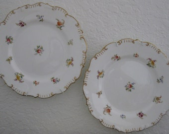 """Pair of 9"""" Antique Cauldon Ware Plates - Abram French and Company - Brown Westhead Moore - 1890s"""
