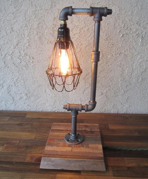 edison trouble light desk lamp vertical pipe reclaimed wood. Black Bedroom Furniture Sets. Home Design Ideas