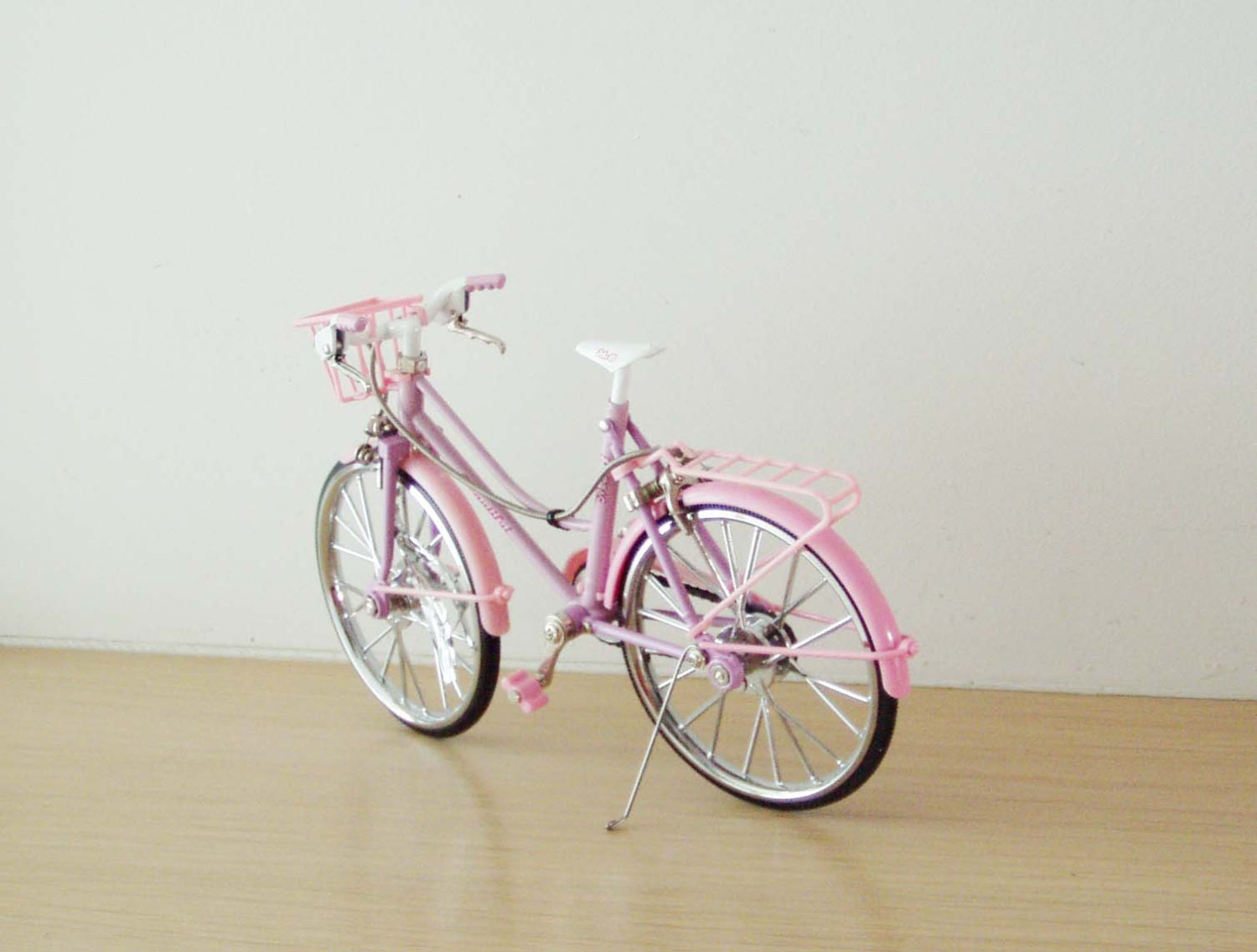 Pink Girl S Bicycle With A Front Basket Metal Pink Bike
