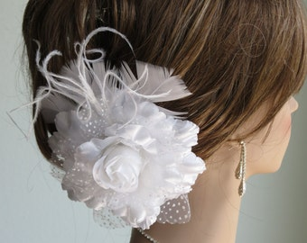 White Bridal Flower Hair  Clip- Wedding Hair Clip - Wedding Accessory-Feathers