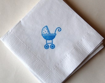 Baby Stroller Beverage Napkins / Set of 50 / Perfect for Baby Showers