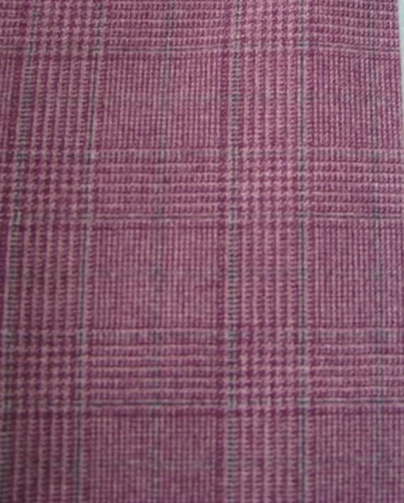 Vintage Grape Purple Plaid Wool Fabric 60 By