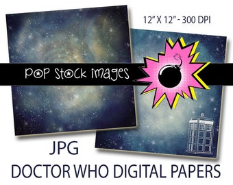DOCTOR WHO Instant Download Paper Pack - Digital Paper 12x12 - TARDIS - Digital Scrapbook Paper - Digital Paper - Digital Background