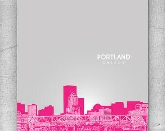 Skyline City Art / Portland Skyline / Home Office Art Poster / 8x10 Print Any City Available