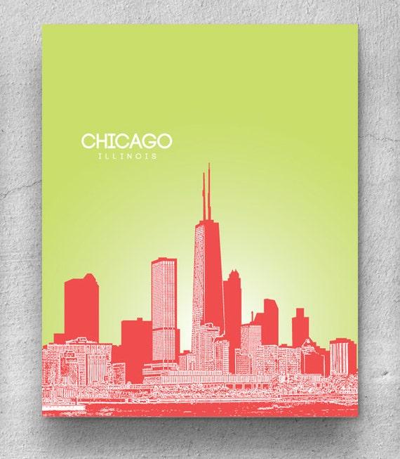 Unique Chicago Skyline Canvas Wall Art Festooning - Wall Art ...