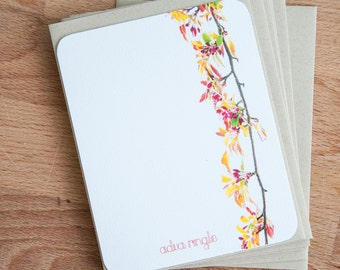 Personalized Stationary - Tree Branch - Note Card Stationery Set Gift