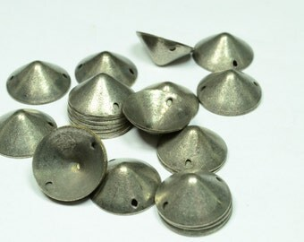 100 Pcs Antique Silver 12 mm Spike 2 Holes, Components Jewelry