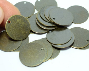 36 Pieces Antique Brass 16 mm Blanks Stamping Disc