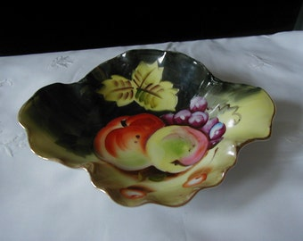 Lefton dish with wonderful fruit design  6 1/4 long by 5 1/2 wide