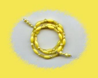 Beautiful Spring Yellow Wraparound Bracelet