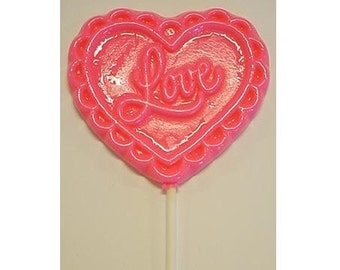 1 dz Hard Candy Filigree Love Heart Shaped Lollipop Valentine Party Favors w/ Personalized Back Labels