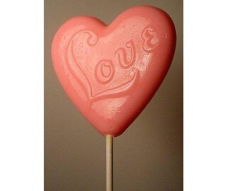 1 dz Hard Candy Love Heart Shaped Lollipop Valentine Party Favors w/ Personalized Back Labels