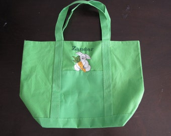 Kids personalized canvas tote bag - EASTER BUNNY with carrot
