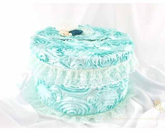 Sale! READY TO SHIP Card Box / Wedding Box / Money Card Box / Gift Holder in Aqua (Mint) Ivory and Jade with a Beautiful Lace  Flowers