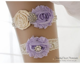 READY TO SHIP  Bridal Garter Set Wedding Lace Jeweled Garters with Brooches, Crystals, Pearls and Handmade Flowers