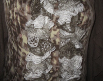 Brown/White Ruffle Scarf Hand Knitted 62 inches long
