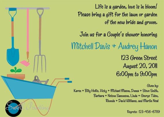 and Garden Shower Invitation Couple Shower Invitation – Garden Party Invitation Wording