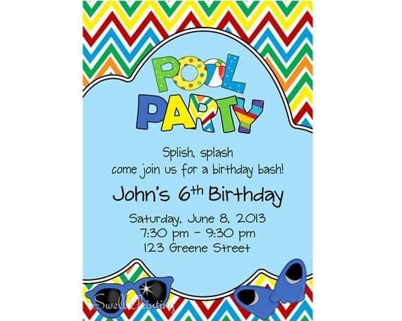 Pool Party Invitation Pool Birthday Invitation Swimming – Swim Party Invitations