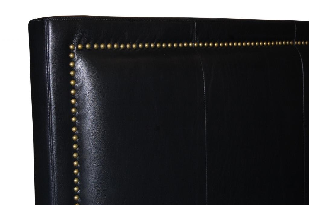 Queen Size Black Genuine Leather Headboard With Nail Head Trim