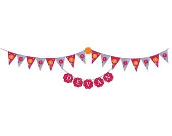 American Girl Birthday Banner and Cupcake Picks