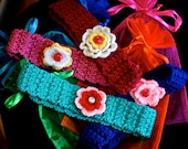 Girls CROCHET HEADBAND with flower - Sizes  6 to 24 months - Many Colors