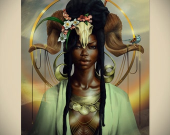 ARIES  Zodiac African American Art  Black Woman Goddess Dreadlocks Afrofuturism Natural Hair Fantasy Illustration Painting Print Sheeba Maya