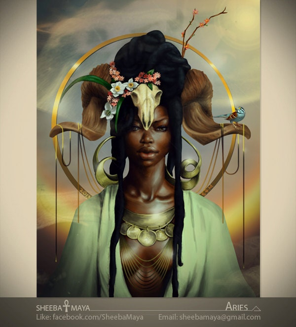 Aries zodiac african american art black woman goddess for Flowers for aries woman