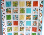 Baby boys handmade patchwork quilt, baby blanket, boy bedding cot bed sized quilt, modern quilt or lap quilt