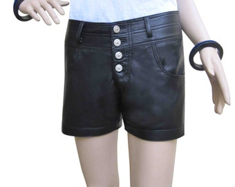 Womens Leather Shorts with Button fly Custom Made to Order  WSO001
