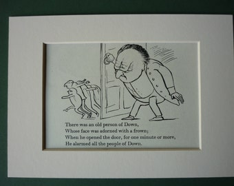 Vintage 1950 Edward Lear Print - Grumpy Old Man - Limerick - Nonsense - Poetry - Matted Ready To Frame - Door - Silly Song - Poem