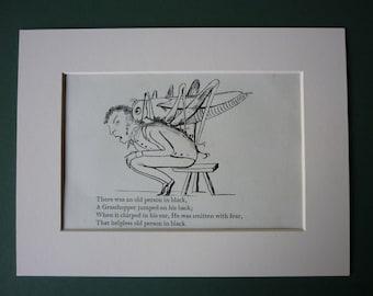 Vintage 1950 Edward Lear Print - Cricket - Grasshopper - Victorian Poetry - Limerick - Poem - Matted - Nonsense Rhyme