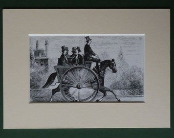Vintage Victorian Invention Print - Horse & Carriage - Equestrian - Strange - Cart - Large Wheel - Engraving - Travel