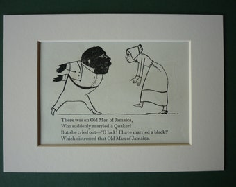 Vintage 1950 Edward Lear Print - Victorian Nonsense - Silly Story - Childrens - Limerick - Song - Matted Ready To Frame - Jamaica - Quaker