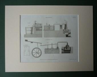 Original 1820 Industrial Bleaching Matted Print - Machine - Mechanical Diagram - Machinery - Revolution - Industry - Georgian - Bleach